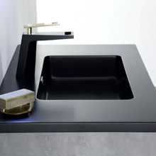 """Contemporary Venice Gray 30"""" Single Bathroom Vanity Black Countertop"""
