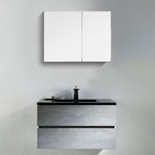 "Contemporary Venice Gray 40"" Bathroom Wall Hung Single Vanity Black Countertop"