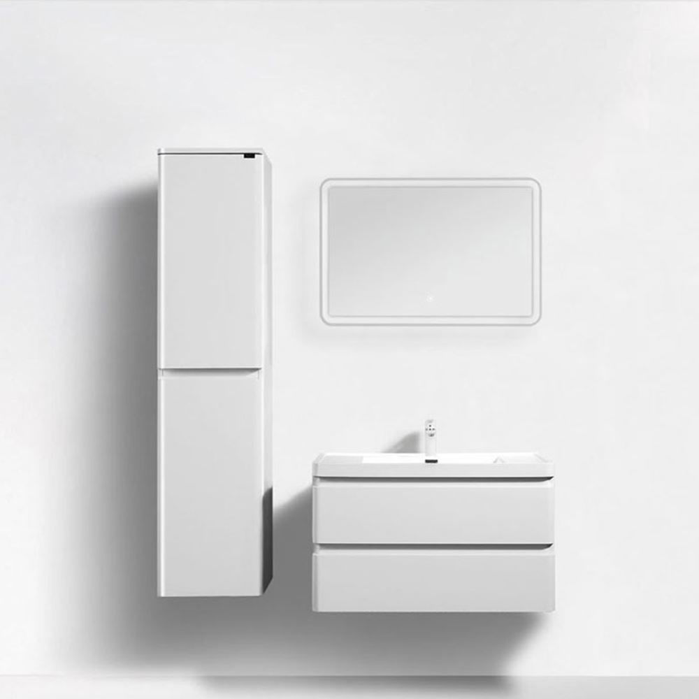 "Perla 36"" Matt White Wall Hung Bathroom Modern Single Vanity"