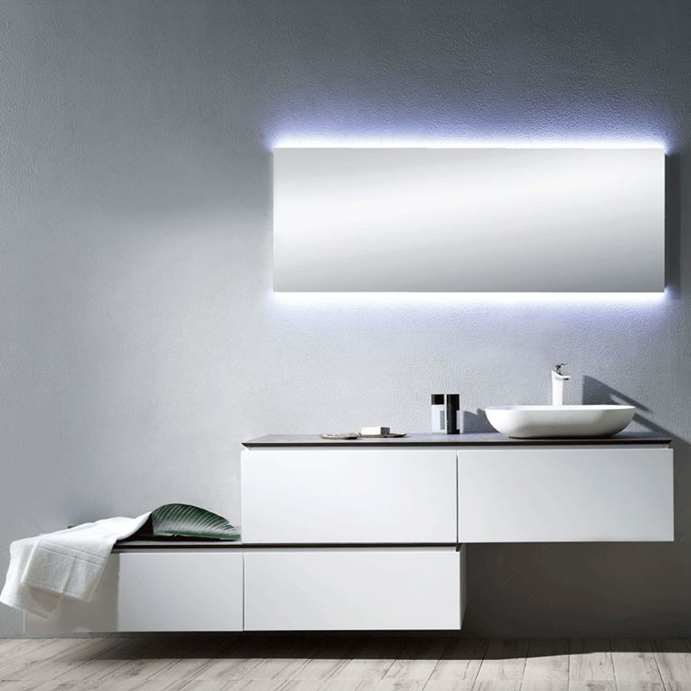 "Matt White 59"" Modern Bathroom Vanity Cabinet, Bianca"