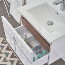 """36"""" Modern Single Bathroom Vanity Solid Plywood Wall Hung Cabinet Mino Glossy White"""
