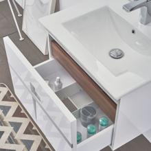 "Mino 40"" White Wall Mounted Modern Single Bathroom Vanity with Mirror"
