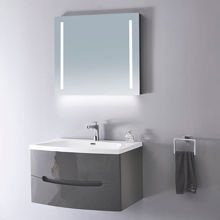 "32"" Modern Solid Plywood Bathroom Vanity and Sink, Brera Glossy Gray"