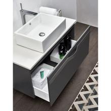"""36"""" Modern Wall Hung Bathroom Vanity Cabinet, Riel Matt Gray"""