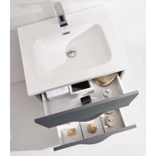 "36"" Modern Wall Hung Bathroom Vanity Cabinet, Riel Glossy Gray"