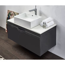 "36"" Matt Gray Wall Mounted Modern Single Bathroom Vanity with Mirror"