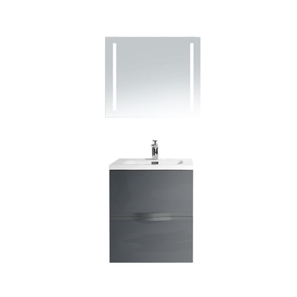 "36"" Gray Wall Mounted Modern Single Bathroom Vanity with Mirror"