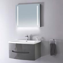 "32"" Modern Solid Plywood Bathroom Vanity Sink Brera Glossy Gray"
