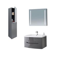 "40"" Modern Solid Plywood Bathroom Vanity Set Brera Glossy Gray"