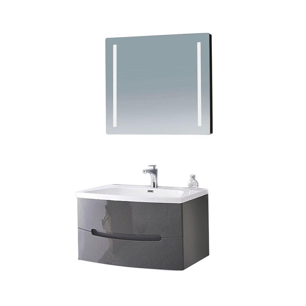 "Glossy Gray 36"" Modern Wall Mounted Single Bathroom Vanity with Mirror"