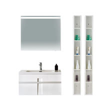 "40"" Modern Solid Plywood Bathroom Vanity Set Brera Glossy Gray"