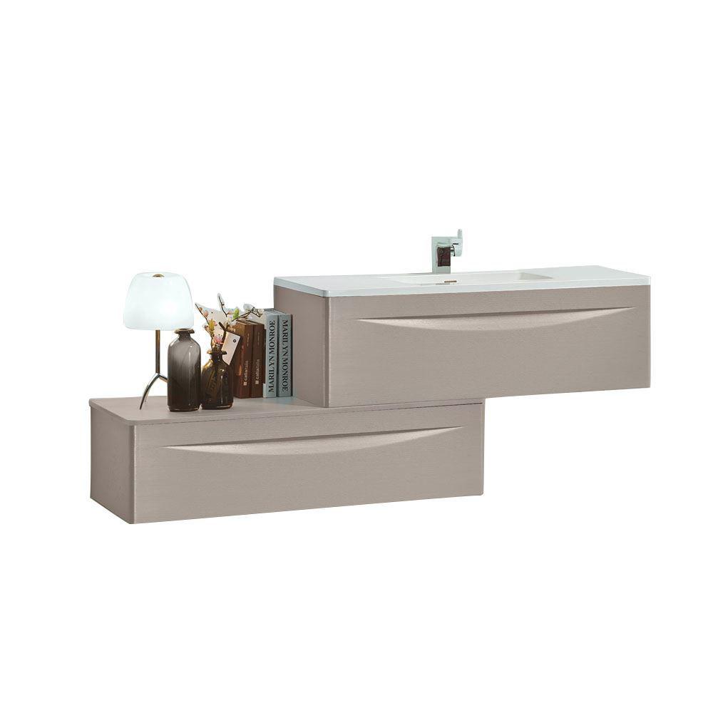 . 48  Modern Bathroom Vanity Solid Plywood Wall Mounted Cabinet Vera Beige