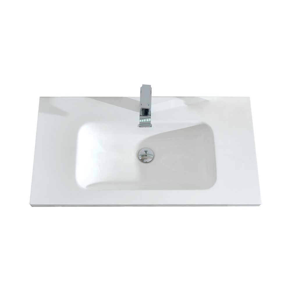 "36"" Modern Wall Hung Bathroom Vanity Sink, Riel Glossy Gray"