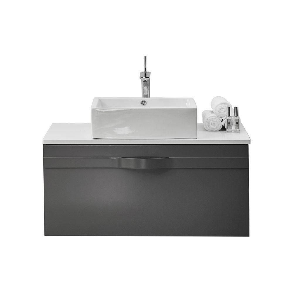 . 36  Modern Wall Hung Bathroom Vanity Cabinet  Riel Matt Gray