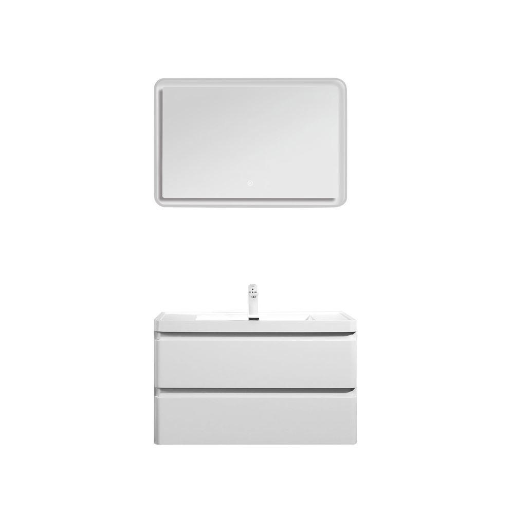 "Perla 36"" Matt White Wall Hung Bathroom Modern Single Vanity Set"