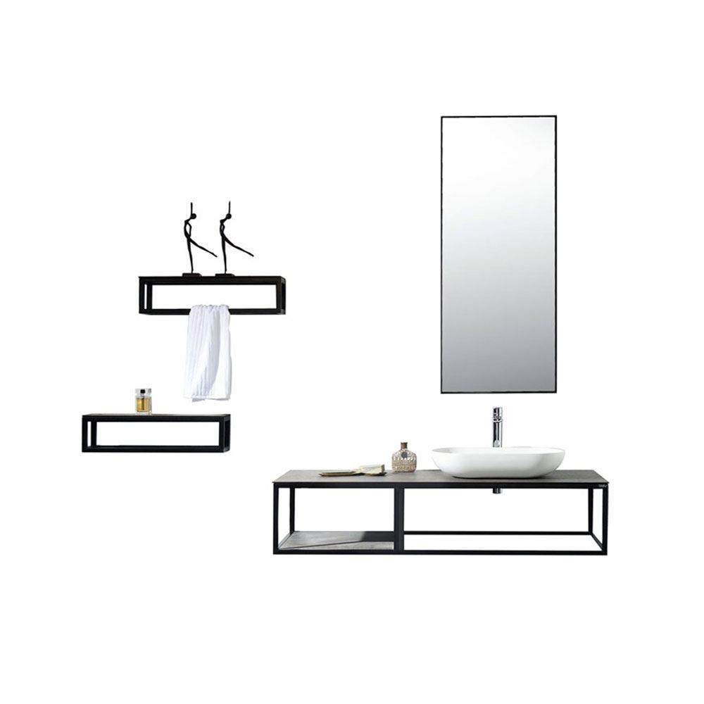 """Picasso 48"""" Modern Single Wall Mounted Bathroom Vanity, Sink and Side Frame"""
