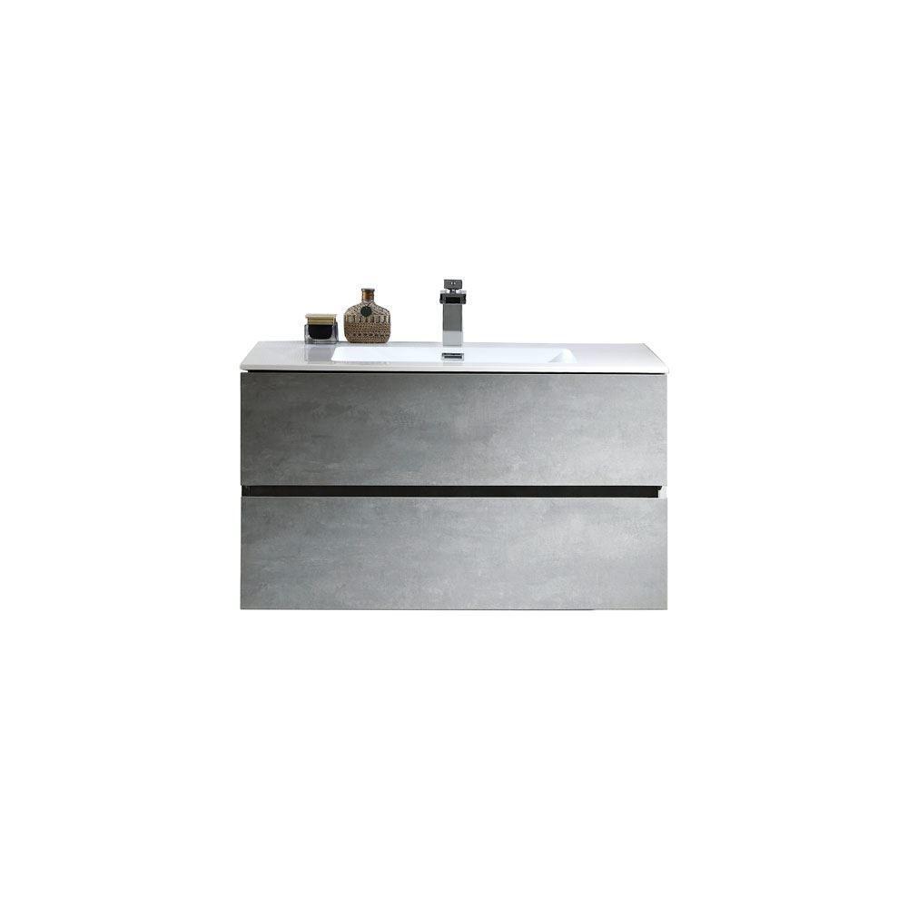 "Venice Gray 40"" Wall Mounted Single Bathroom Vanity, White Sink"