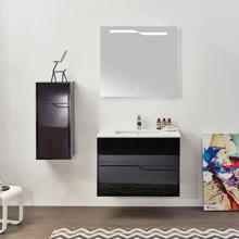 """Glossy Black 32"""" Modern Bathroom LED Illuminated Mirror, Leisure"""