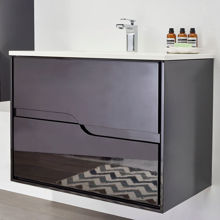 "Glossy Black 36"" Modern Bathroom Vanity Cabinet, Leisure"