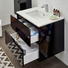 """Glossy Black 40"""" Modern Bathroom Vanity Cabinet, Leisure"""