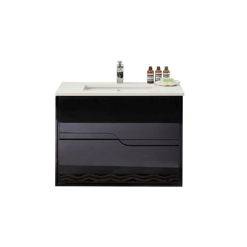 """Glossy Black 40"""" Modern Bathroom Vanity, Leisure"""