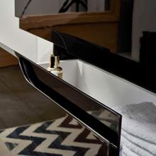 "Glossy Black 40"" Modern Bathroom Vanity Set with Mirror, Leisure"