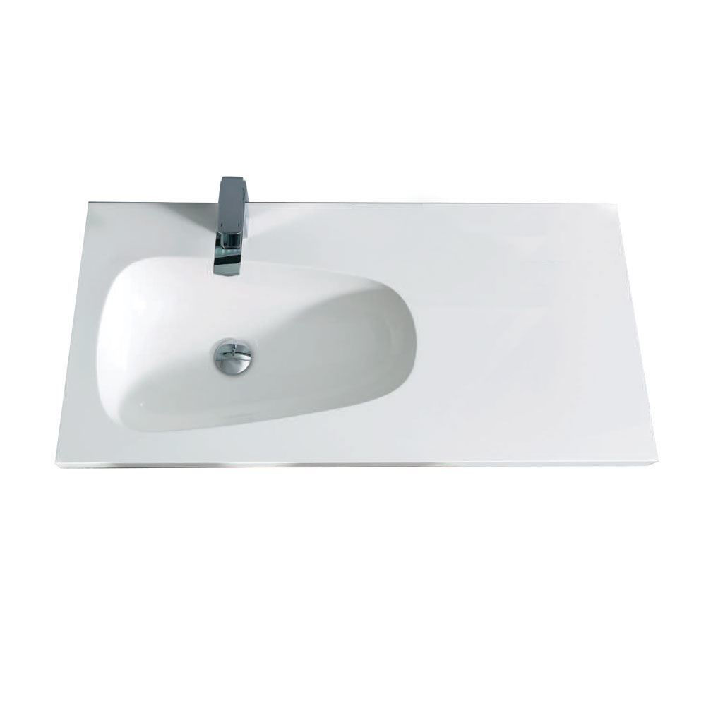 "Mistra 30"" Wall-Mounted Single Bathroom Vanity Sink, Glossy White"