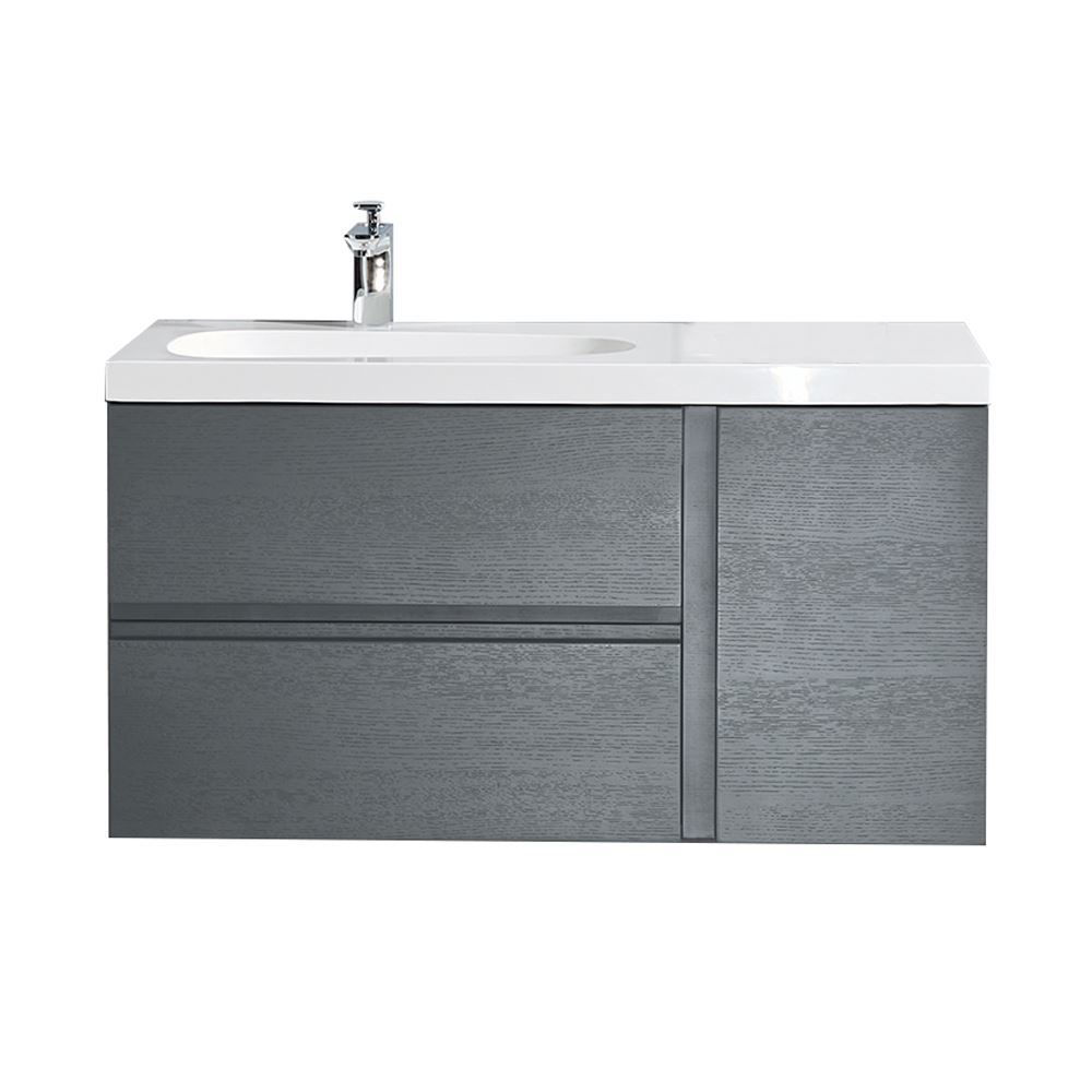 "Mistra 60"" Wall-Mounted Single Bathroom Vanity Cabinet, Matt Gray"