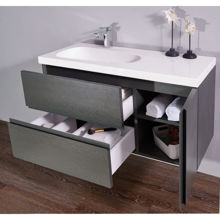 "Mistra 60"" Wall-Mounted Single Bathroom Vanity, Matt Gray"