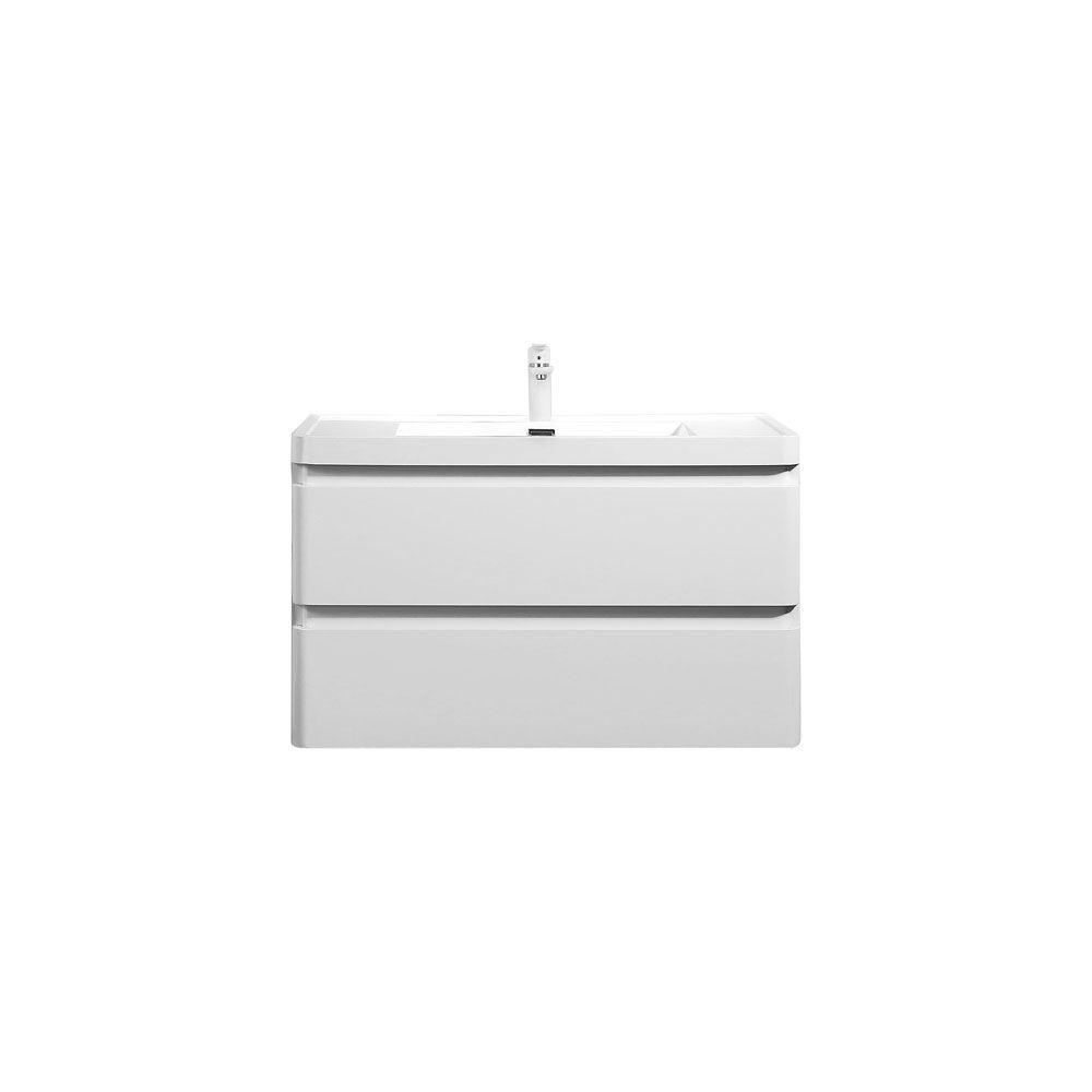 """Perla 36"""" Matt White Bathroom Modern Single Vanity White Sink"""