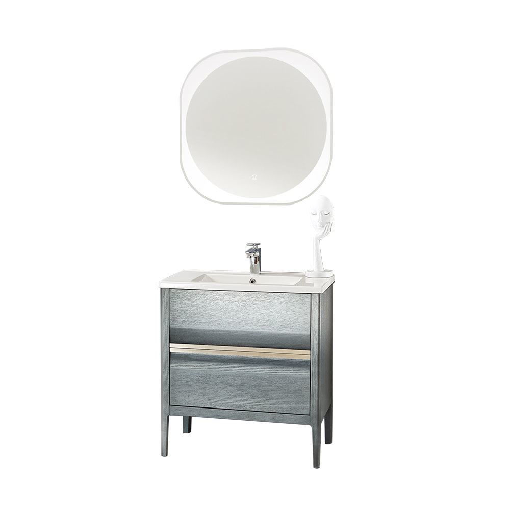 "Amadeus Modern 36"" Single Bathroom Vanity Set with Mirror, Gray"