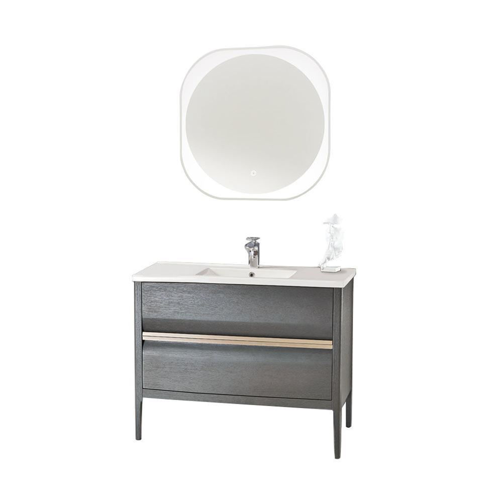 "Amadeus Modern 40"" Single Bathroom Vanity Set with Mirror, Gray"