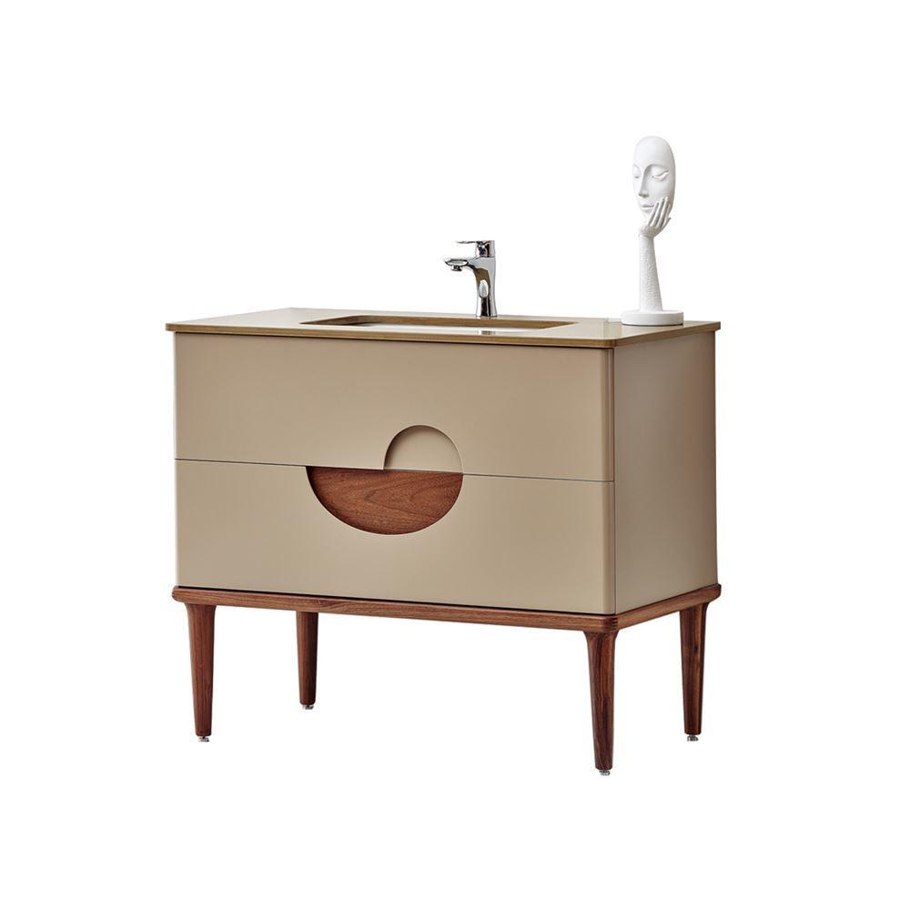 "Modern Matt Beige 32"" Solid Plywood Bathroom Vanity, Vela"