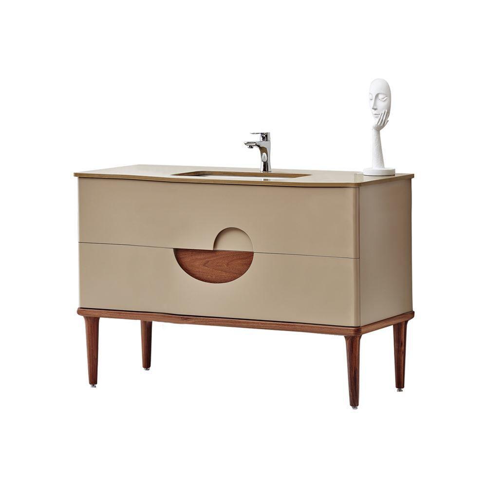 "Modern Matt Beige 40"" Solid Plywood Bathroom Vanity, Vela"