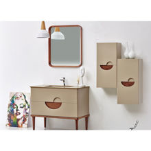 "Modern Matt Beige 32"" Solid Plywood Bathroom Vanity Set with Mirror, Vela"