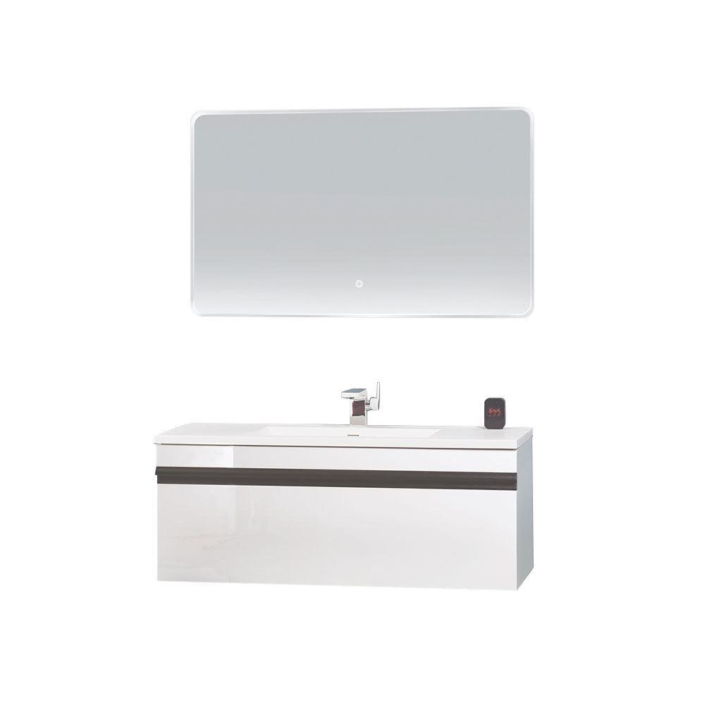 "40"" Glossy White Wall Mounted Bathroom Vanity Set with Mirror, Natt"