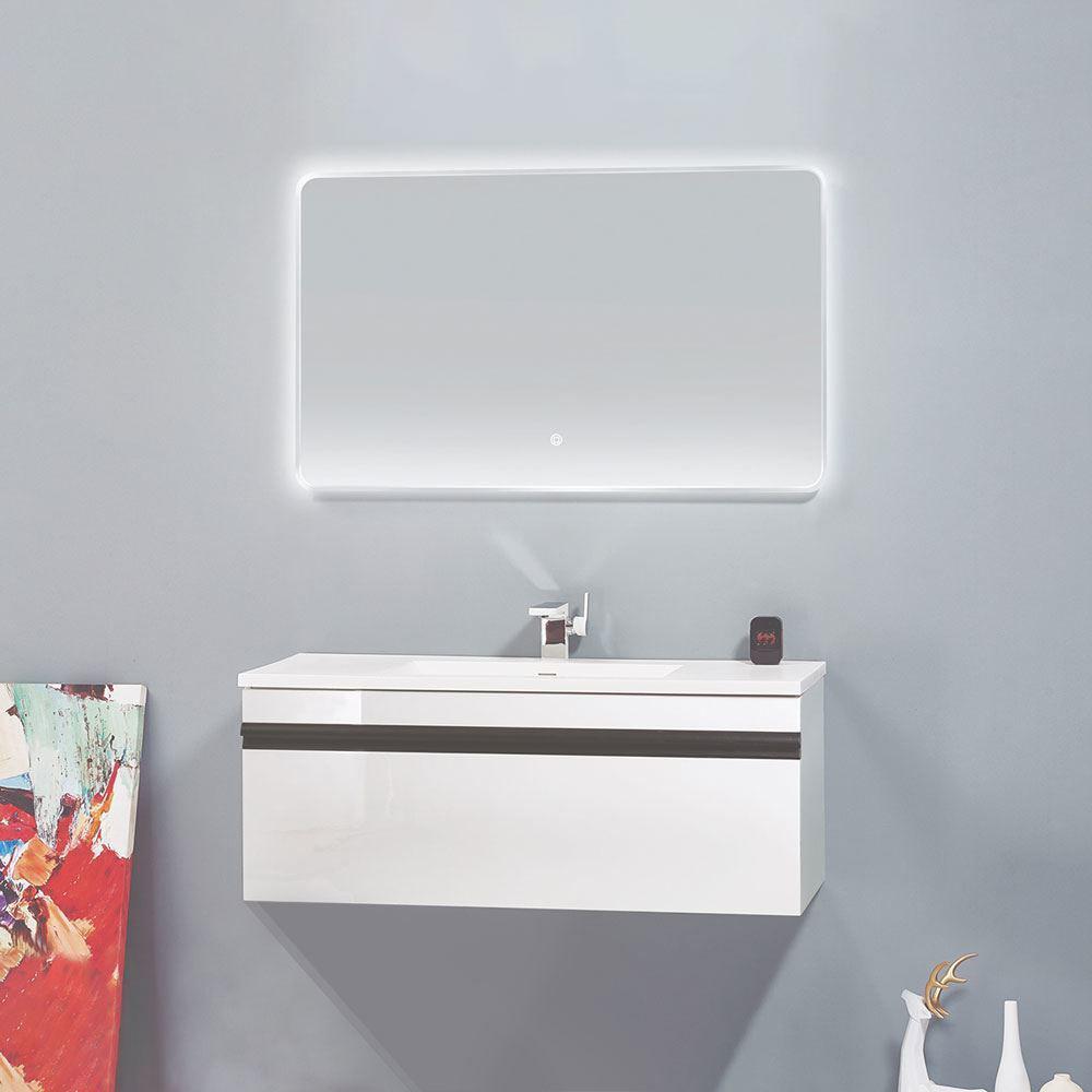 "40"" Glossy White Wall Mounted Bathroom Vanity Cabinet, Natt"