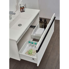 "40"" Glossy White Wall Mounted Bathroom Vanity Set with Mirror, Natt"
