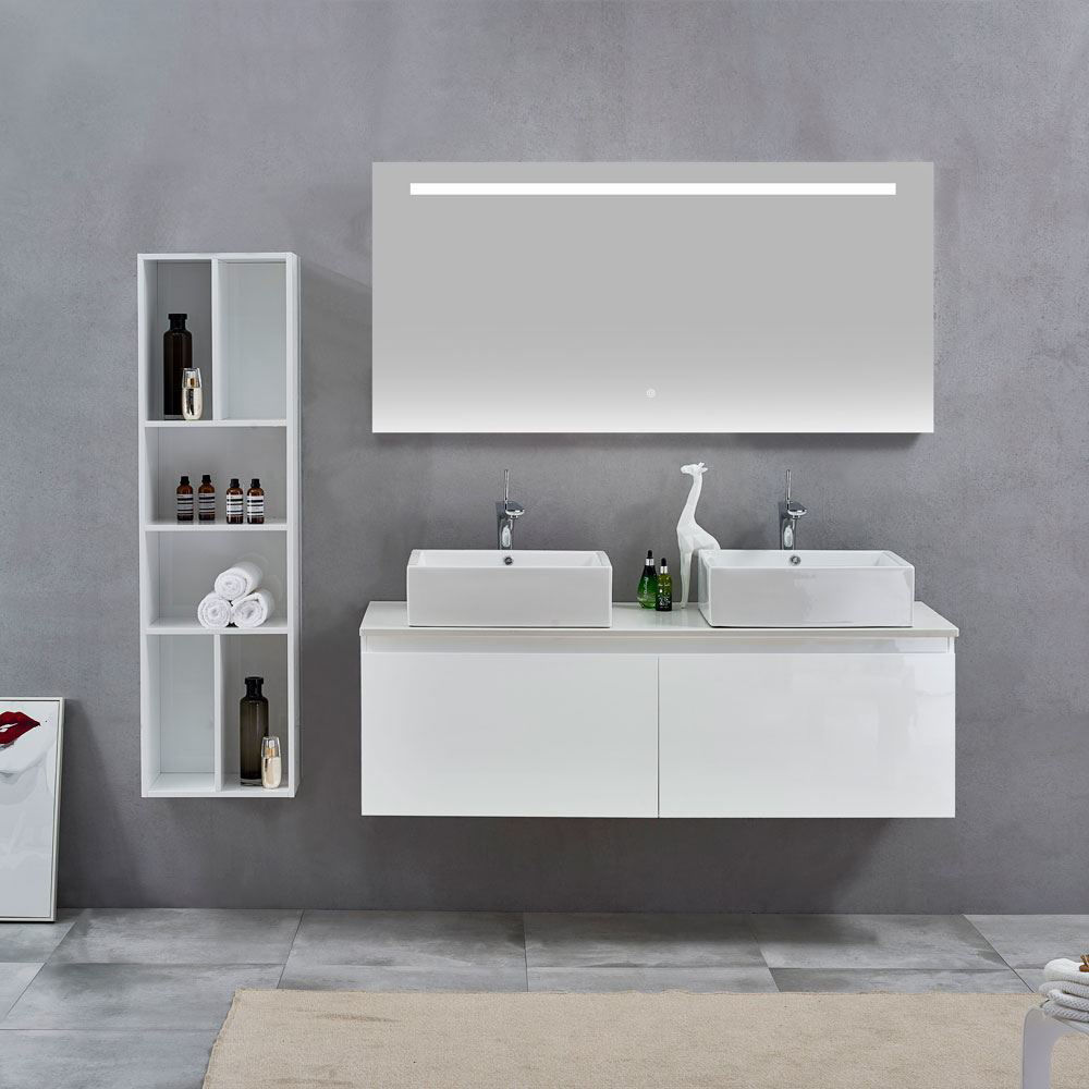 Glossy White Doulbe Wall Hung Bathroom Vanity Cabinet, Nova Glossy White