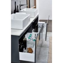 Contemporary Double Wall Monted Bathroom Vanity Cabinet, Nova Matt Gray