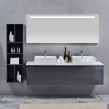 Contemporary Double Wall Monted Bathroom Vanity Sink, Nova Matt Gray