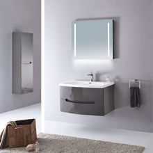 Modern Solid Plywood Bathroom Vanity Set Brera Glossy Gray