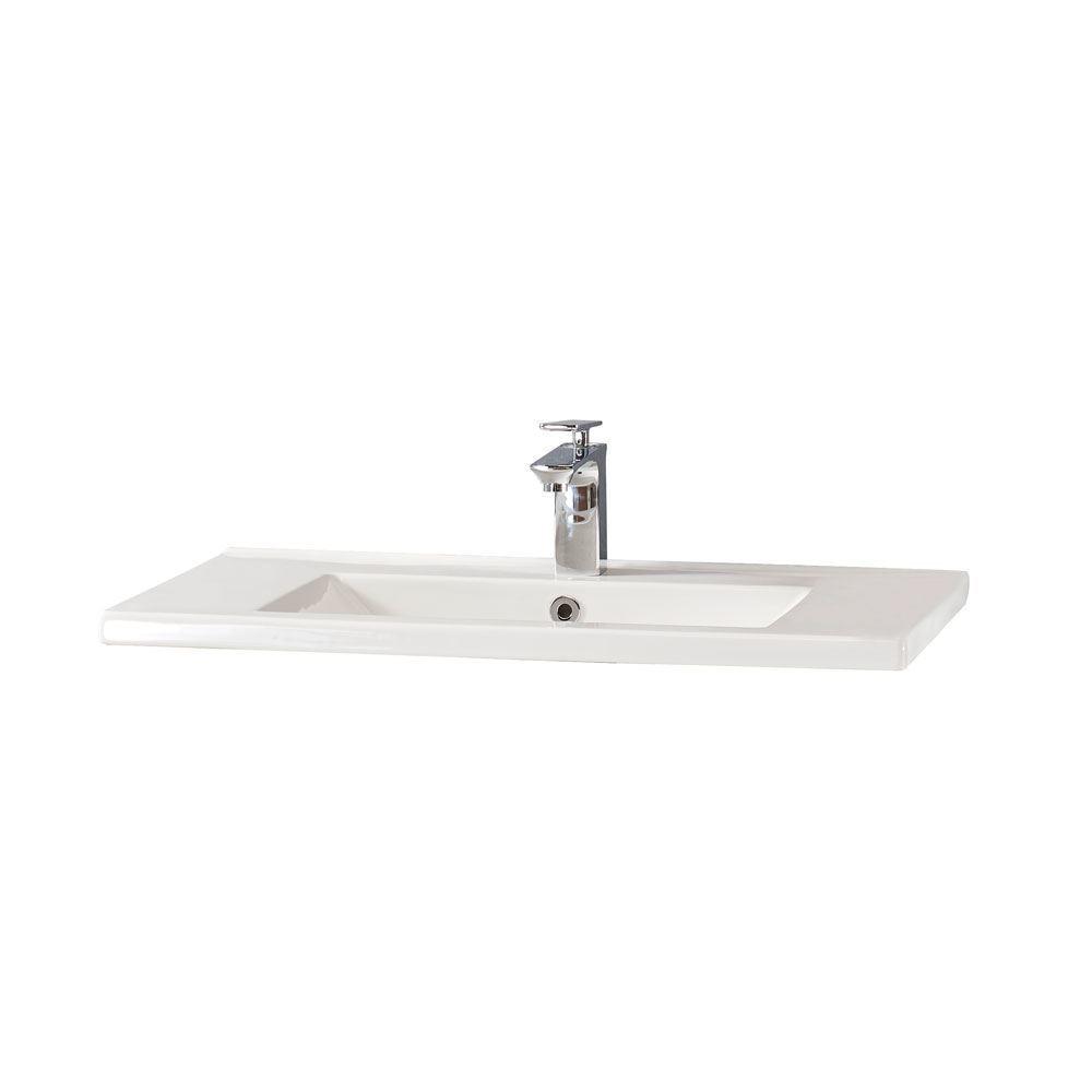 """Glossy Black 32"""" Modern Bathroom Vanity Sink, Leisure"""