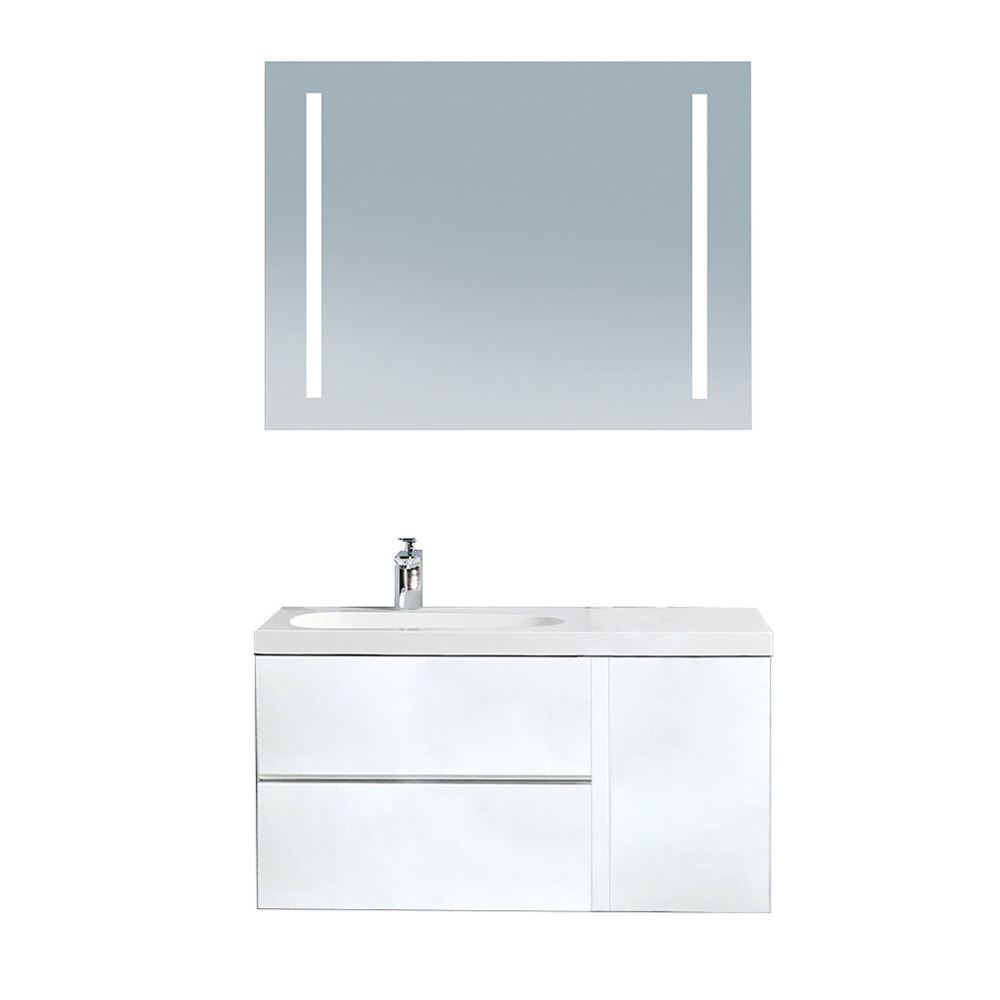 "Mistra 30"" Wall-Mounted Single Bathroom Vanity Set, Glossy White"