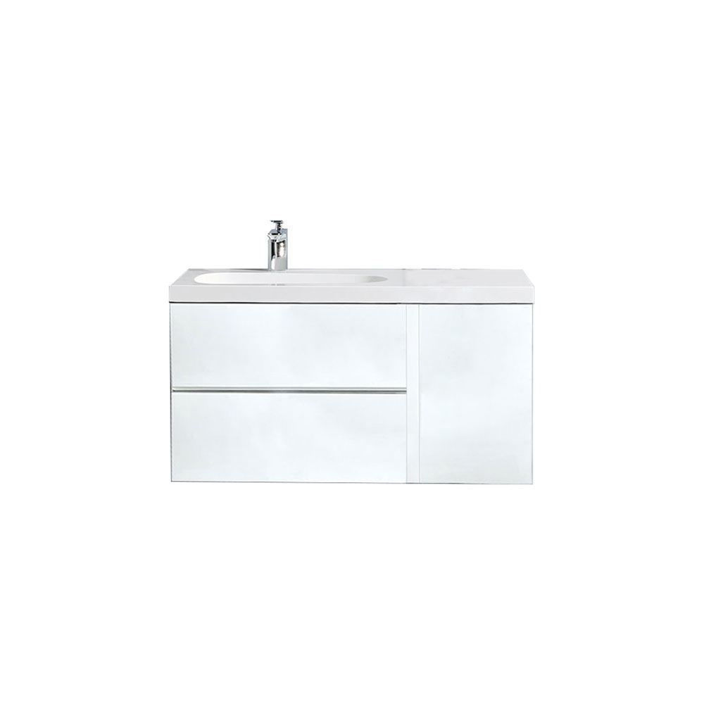 "Mistra 48"" Wall-Mounted Single Bathroom Vanity, Glossy White"