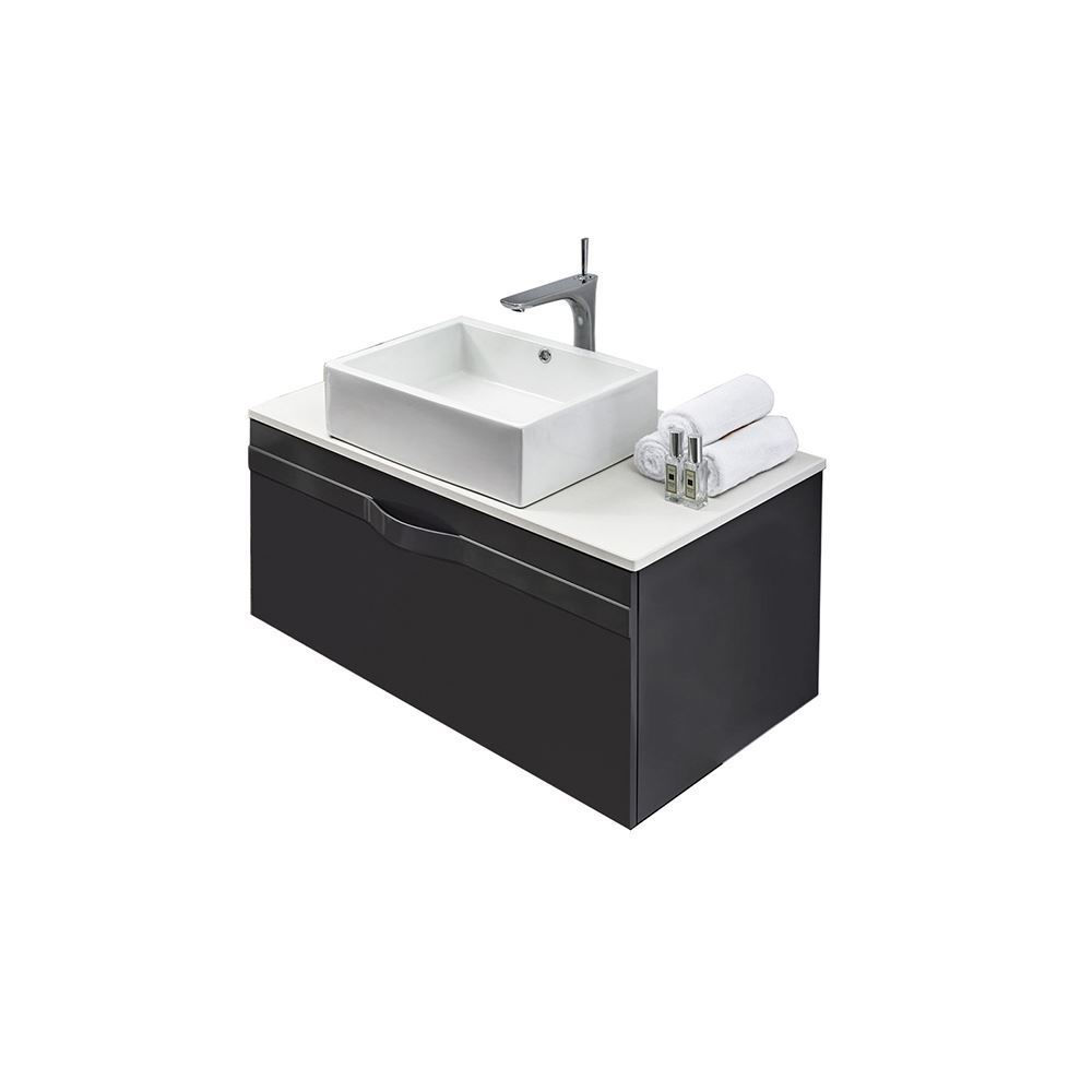 "40"" Modern Wall Hung Bathroom Vanity Sink, Riel Matt Gray"