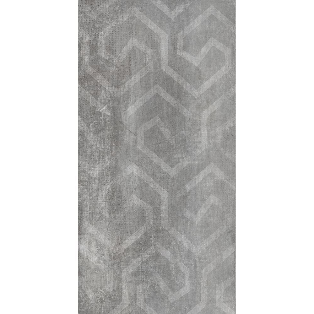 """Ducati 24"""" x 48"""" Italian Modern Gray Tile, Via Emilia Cemento Decoro Mix Lap"""