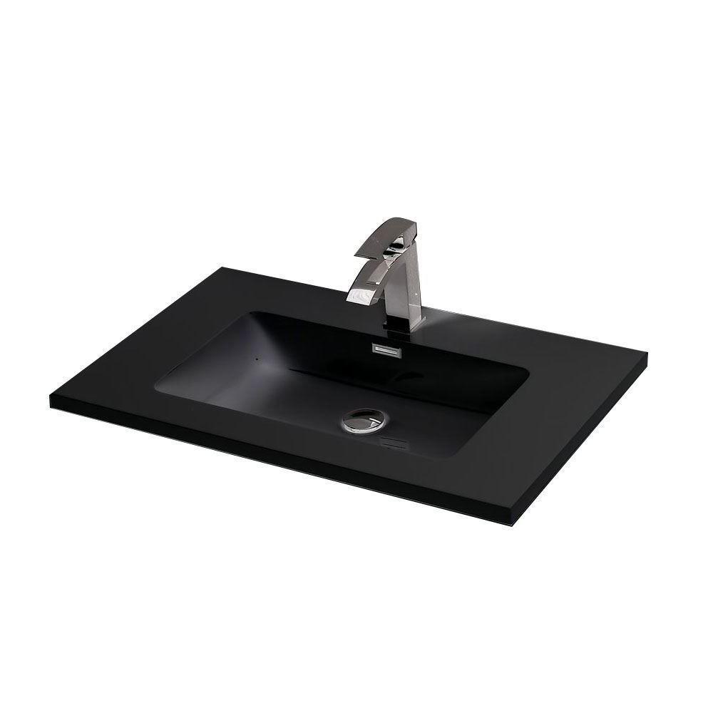 "Venice Gray 36"" Bathroom Wall Mounted Single Vanity Black Countertop"