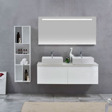 Glossy White Doulbe Wall Hung Bathroom Vanity Sink, Nova Glossy White