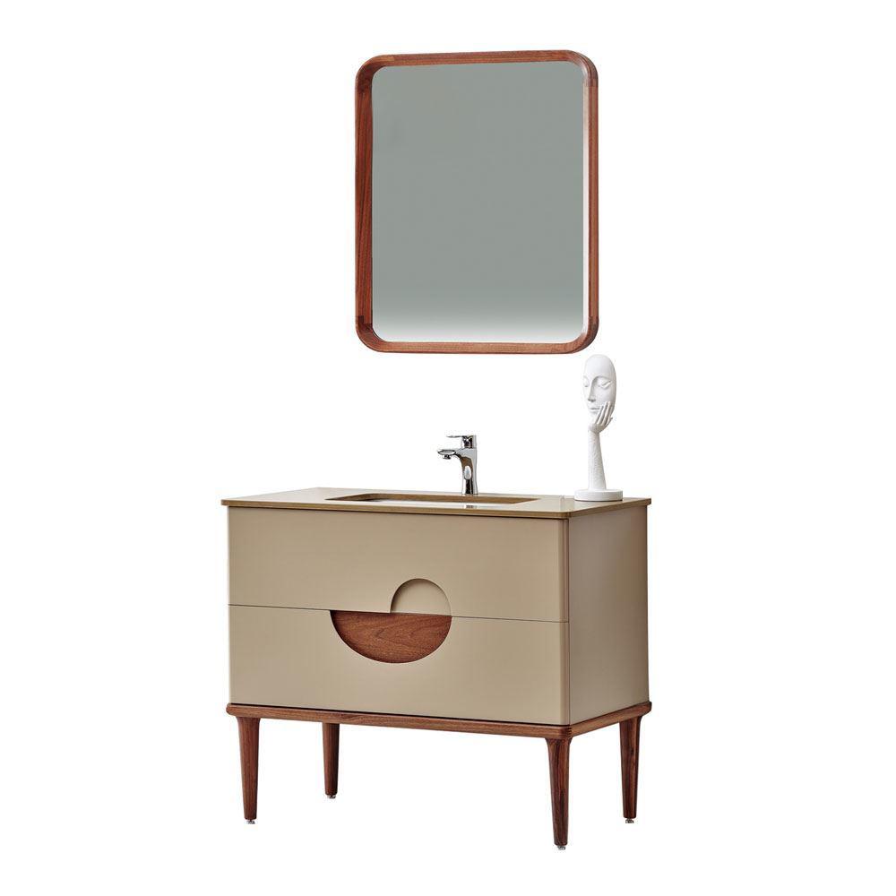 "Modern Matt Beige 32"" Solid Plywood Bathroom Vanity Cabinet, Vela"